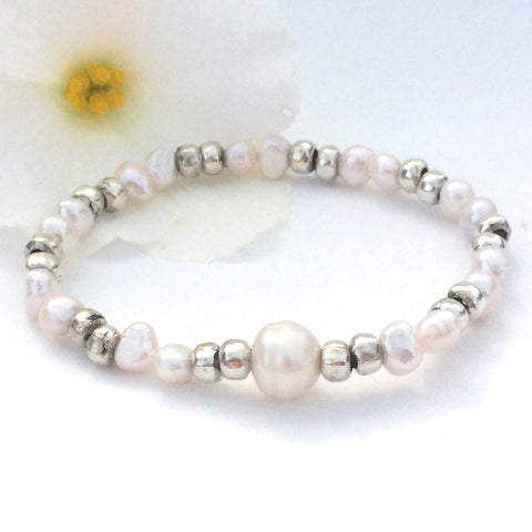 Freshwater Pearl and Thai Silver Stretch Stacking Bracelet