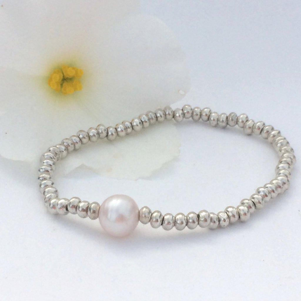 Thai Silver and Freshwater Pearl Stretch Stacking Bracelet