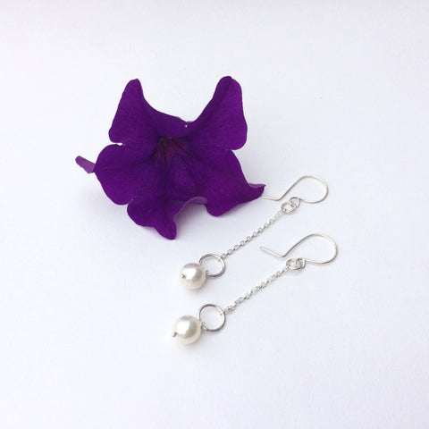 Long Pearl and Sterling Silver Drop Earrings