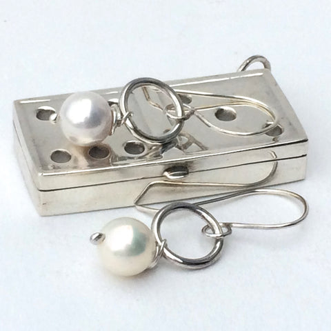 Sterling Silver and Pearl Drop/Hook Earrings