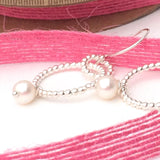 Pearl and Sterling Silver Small Hoop Earrings, Everyday and Special Days