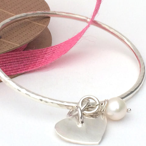 Chunky Sterling Silver Bangle with Freshwater Pearl and Heart, Hammered Finish, Handmade