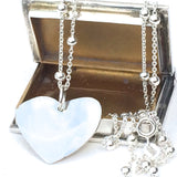 Sterling Silver Necklace with Silver Heart Pendant (45cm) - Handmade,Bespoke Jewellery