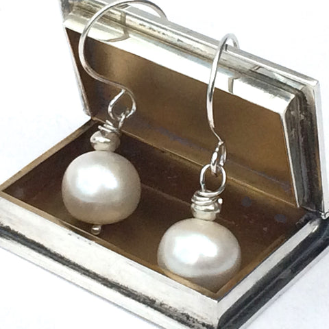 Pearl and Silver Earrings - Sterling Silver Hook Earrings with Large Round Freshwater Pearl