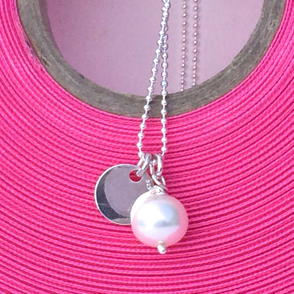 "Silver Pearl Necklace with Sterling Silver Disc - 20""/48cm Ball Chain"