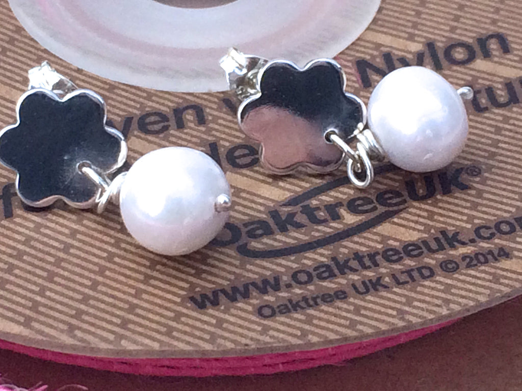 Sterling Silver and Pearl Stud Earrings, Handmade
