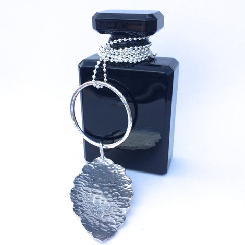 Long Sterling Silver Ball Chain Necklace with Large Hammered Silver Leaf Pendant