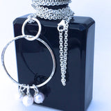Long Sterling Silver Pearl Necklace - Belcher Chain and Freshwater Pearls