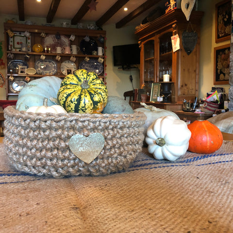 Chunky Natural Jute Storage Basket with Large Hammered Brass Heart