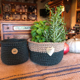 Green Jute Storage Display Basket with Hammered Brass Heart Handmade