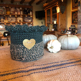 Jute Storage Display Basket Planter Green and Taupe Brass Heart
