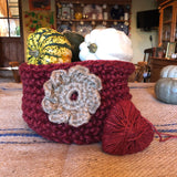 Chunky Red Jute Storage Display Basket with Large Flower Motif
