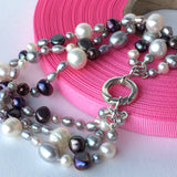 Triple Strand Grey and White Freshwater Pearl and Sterling Silver Bracelet