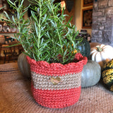 Jute Storage Display Basket Planter Flowerpot Orange with Brass Heart