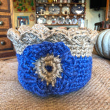 Jute Storage Display Basket Blue Flower Pot with Large Blue Flower Handmade