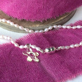 Seed Pearl and Sterling Silver Bracelet, with Silver Magnetic Clasp
