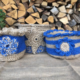 Jute Storage Display Basket Cornish Blue Flower Pot Crochet Handmade