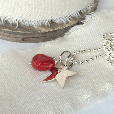 "Sterling Silver Necklace - Star and Red Coral Pendant, 18""/45cm"