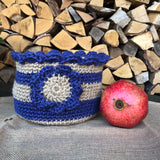 Jute Storage Display Basket Planter Purple Lavender and Tan with Large Flower Motif