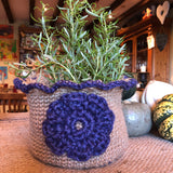 Jute Storage Display Basket Planter Lavender Large Flower Motif
