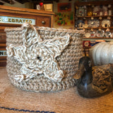 Jute Star Basket Storage Pot Handmade Crochet