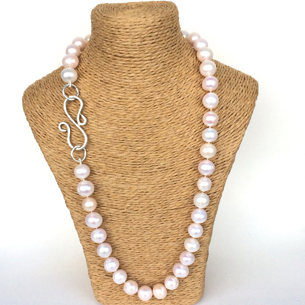Pearl Necklace, Hand Tied with Handmade Sterling Silver S-Clasp, Jewellery Set