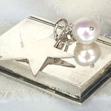 "Sterling Silver Star and Freshwater Pearl Pendant Necklace on 24""/60cm Belcher Chain"