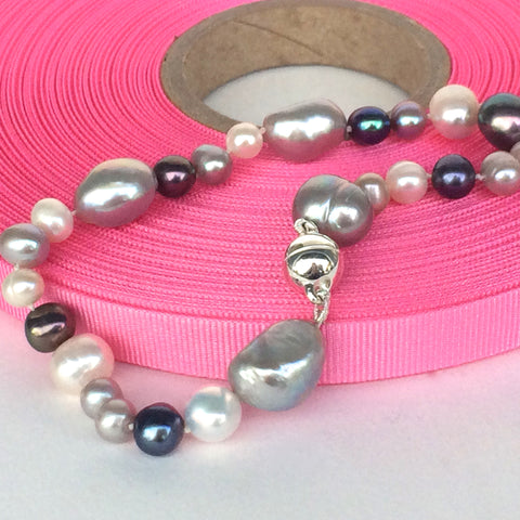 Grey and White Freshwater/Baroque Pearl Bracelet with Sterling Silver Magnetic Clasp