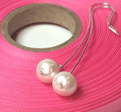 Long Sterling Silver Pearl Statement Earrings