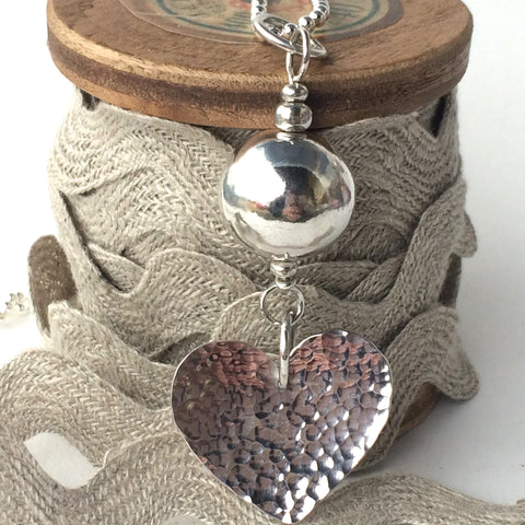 Sterling Silver Ball Chain with Handmade Hammered Silver Heart Pendant
