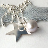 Sterling Silver Chain Necklace with Silver Star and Grey Pearl 45cm