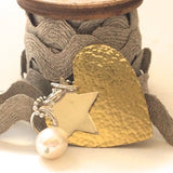Long Sterling Silver Necklace with Large Hammered Brass Heart, Sterling Silver Star and Freshwater Pearl
