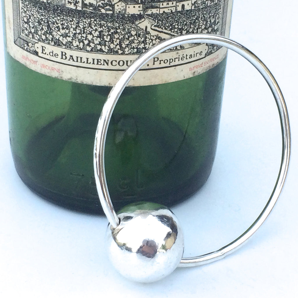Chunky Sterling Silver Handmade Bangle with Large Silver Orb