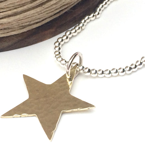 Silver Stretch Bracelet with Gorgeous Golden Star, Handmade