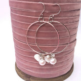 Sterling Silver Earrings - Large Hammered Hoop with Freshwater Pearl and Silver Heart