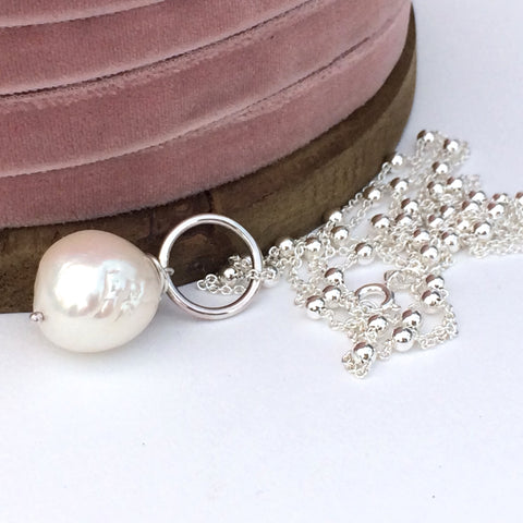 Long Pearl and Silver Chain Necklace - Handmade/Bespoke