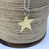 Sterling Silver Ball Chain with Large Gold Star Pendant