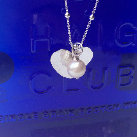 "Pearl Silver Heart Necklace - Delicate Sterling Silver Pretty Chain (18""/45cm)"
