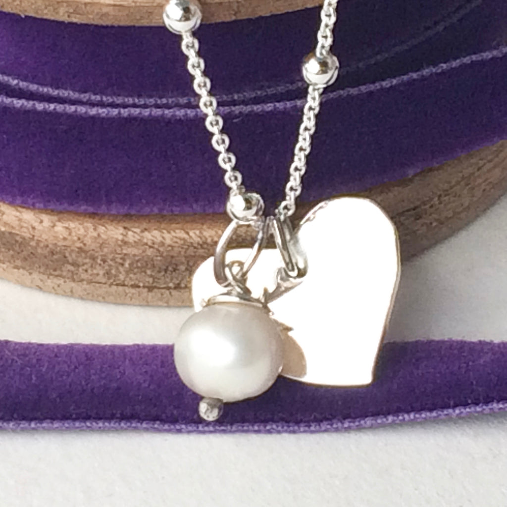 "Pretty Sterling Silver Chain with Quirky Silver Heart and Freshwater Pearl, Handmade 18""/45cm"