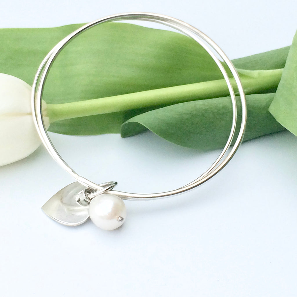 Sterling Silver Bangle - Double Bangle with Silver Heart and Freshwater Pearl