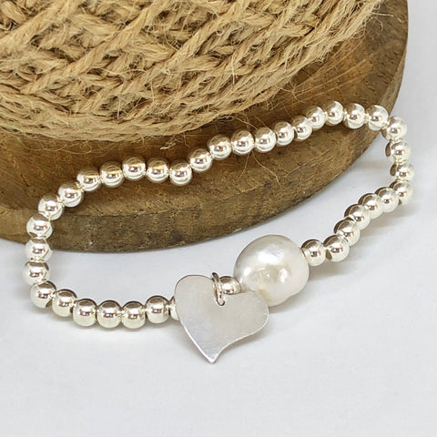 Chunky Sterling Silver Stretch Bracelet with Sterling Silver heart and large Freshwater Pearl