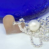 "Silver Pearl and Retro Heart Necklace - Ball Chain with pearl Pendant  (18""/45cm)"
