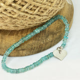 Aquamarine and Sterling Silver Stretch Bracelet with Heart