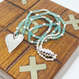 Aquamarine Sterling Silver Hammered Heart Necklace