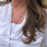 Pearl and Sterling Silver Hammered Heart Necklace Handmade
