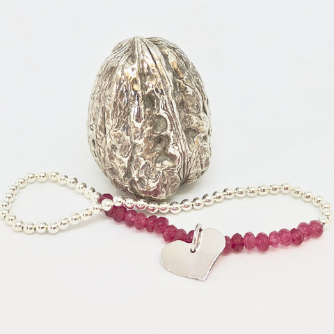 Ruby Sterling Silver Stretch Bracelet with Heart