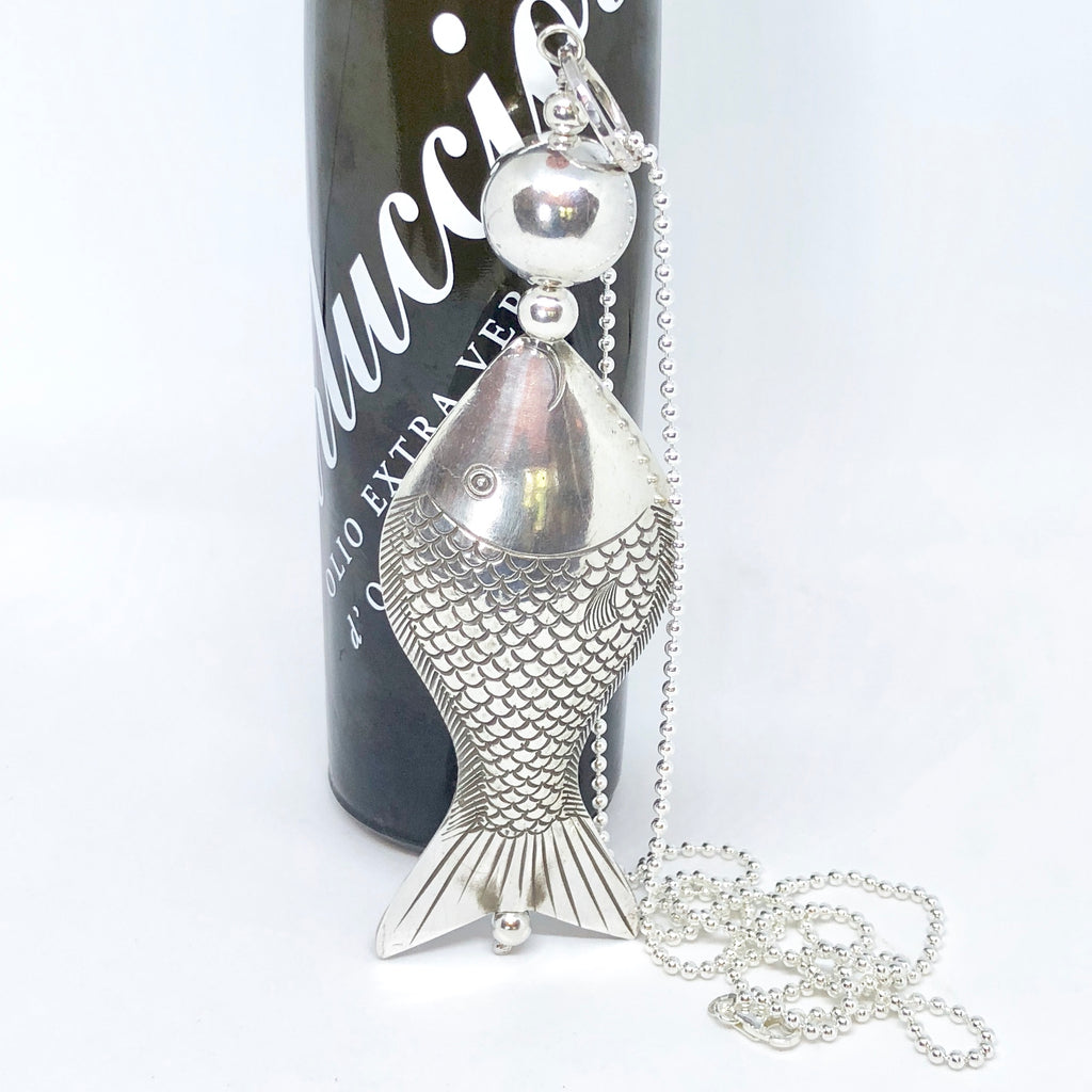 Large Silver Fish Pendant on Sterling Silver Ball Chain Statement Necklace