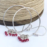 Ruby Sterling Silver Hoop Earrings Handmade Statement Earrings
