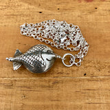 "Thai Silver Fish Pendant Necklace Sterling Silver 24"" Diamond Cut Belcher Chain"