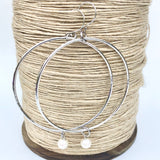 Really Lovely Big Hoop Earrings Hammered Sterling Silver with Freshwater Pearl